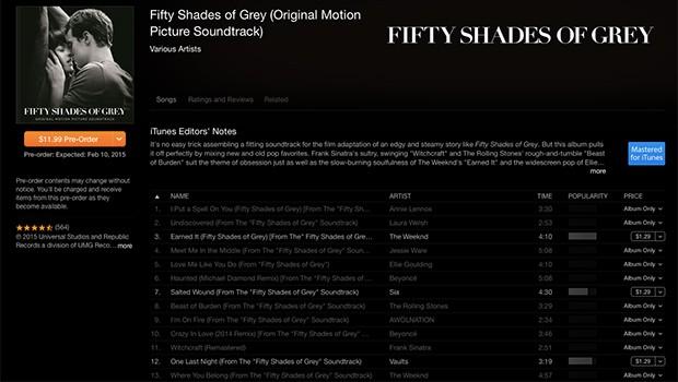 『フィフティ・シェイズ・オブ・グレイ』サントラが発売前にも関わらず全世界iTunes総合チャート1位に!
