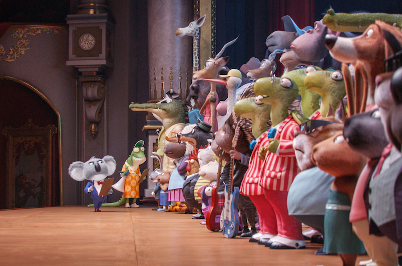 ミュージカルアニメ映画『SING/シング』キャラクターと声を担当した俳優が一緒になったポスター