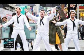 横断歩道でミュージカルを行う名物企画に『グレイテスト・ショーマン』ヒュー・ジャックマン、ザック・エフロン、ゼンデイヤが参加